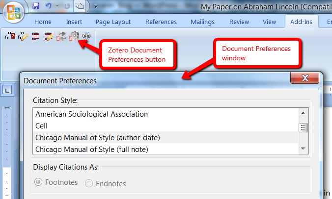 Zotero Document Preferences button