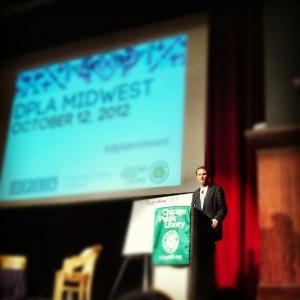 Image of John Palfrey, DPLA Board member, addressing the audience
