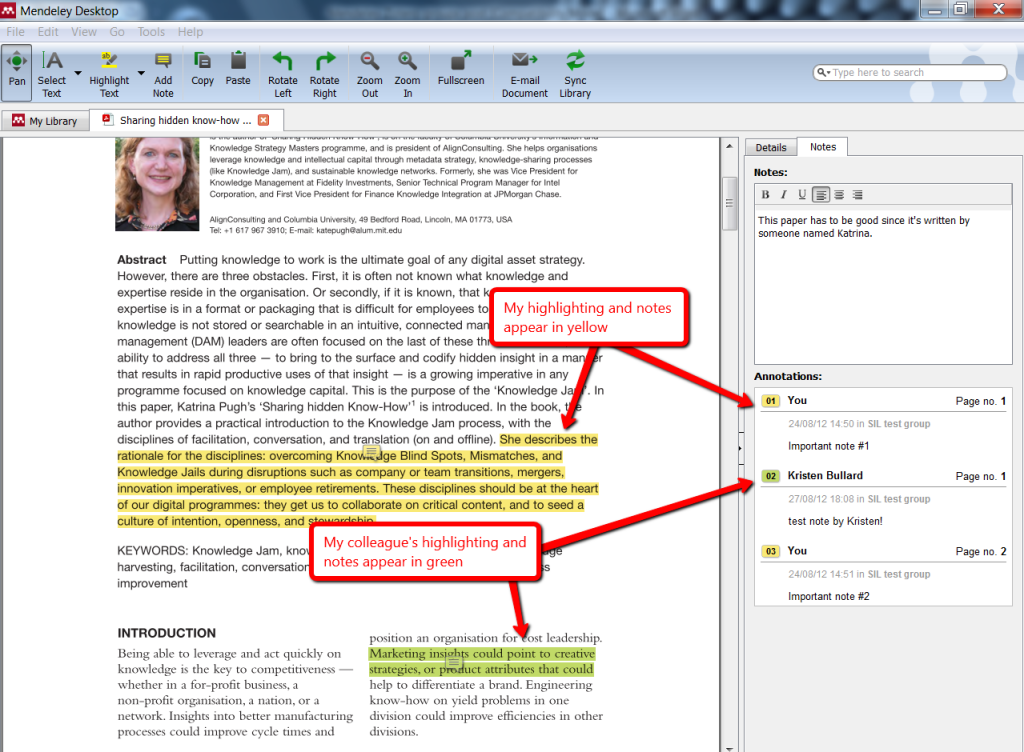Image of collaborative highlighting and notes in Mendeley private group