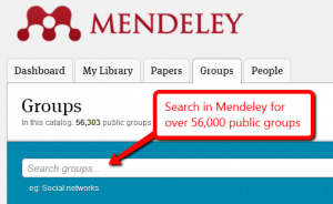 Image of Mendeley's group search box