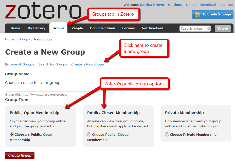 Zotero groups set-up page