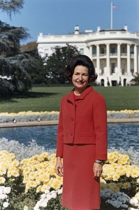 Photo of Lady Bird Johnson in the back yard of the White House