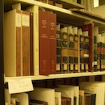 Books on a shelf in the Smithsonian Libraries