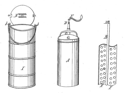 Drawing from 1843 patent for ice cream freezer