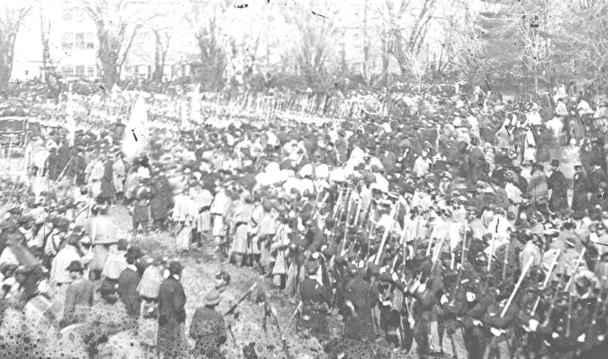 Photo of African American troops marching at Lincoln's 1865 inauguration