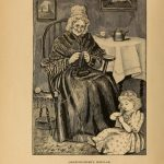 Illustration of an old woman and a little girl knitting, from the Art of Knitting