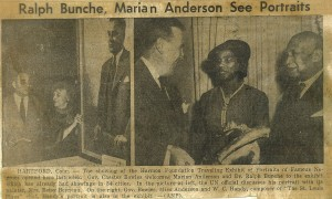 Marian Anderson and Ralph Bunche attend Harmon Exhibition opening in Hartford