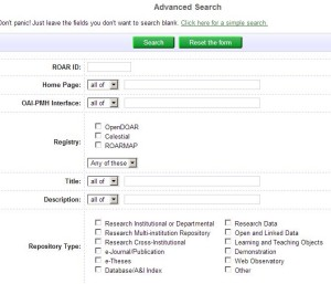 Registry of Open Access Repositories search