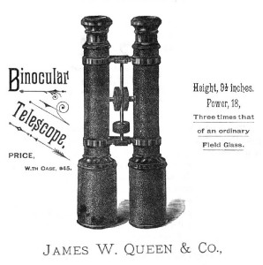 Image of binoculars from 1883 trade catalog