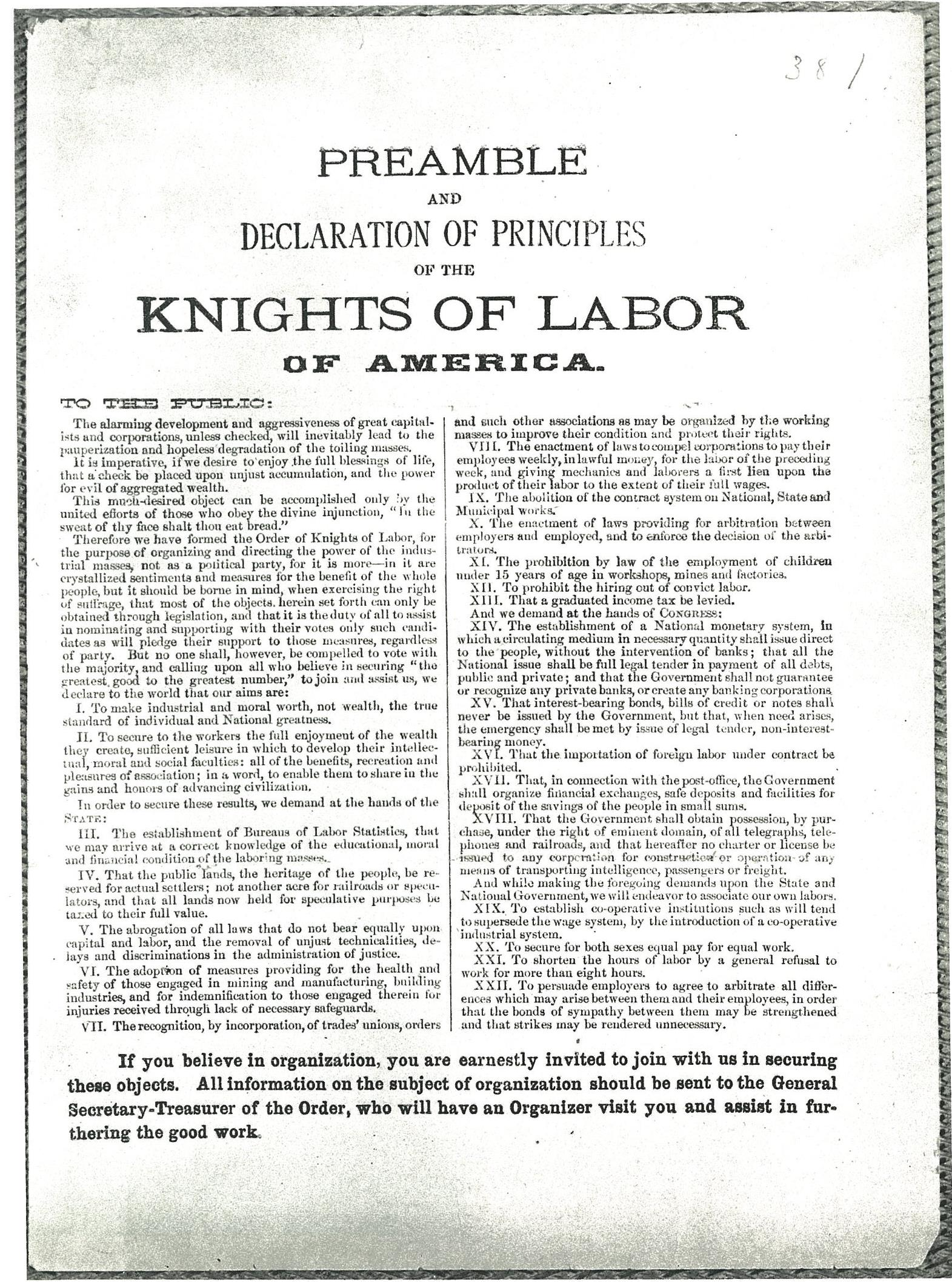 an essay on the influence of the knights of labor in shaping american labor groups The knights of labor were originally part of the trades and labor congress of canada when it was organized in 1886 but the members of the knights of labor all shared a fundamental principle which sought the cooperation of various their influence, although unknown by many, has and will.
