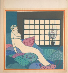 lady in evening gown reclining on pillows
