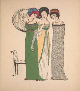 three ladies wearing long evening dresses