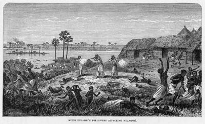 """The massacre of the Manyuema women at Nyangwe,"" based on Livingstone's sketch."