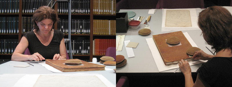 Book conservator Georgia Southworth at work