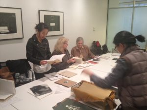 Anna Brooke discussing Artists' Books with Corcoran students