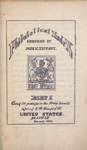 Title Page of Tiffany's Philatelic Index