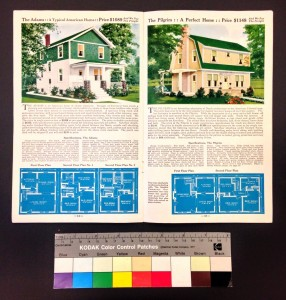 An Aladdin pre-fabricated homes catalog, showing blueprints