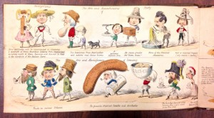 This humorous look at London's Great Exhibition of 1851 features caricatures of the countries and trades represented at the fair, including Switzerland, Italy, and Germany
