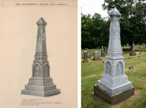 L: Monumental Bronze Catalogue, p.78   R: Beitzel Monument,1885. Prospect Hill Cemetery. York, PA (photo courtesy of Richard A. Sauers, historian, Riverview Cemetery, Trenton, New Jersey)