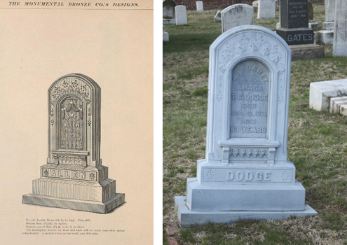 L: Monumental Bronze Catalogue, p.66.  R: Dodge Monument, 1871. Congressional Cemetery, Washington, DC. Photo courtesy of Elise M. Ciregna.