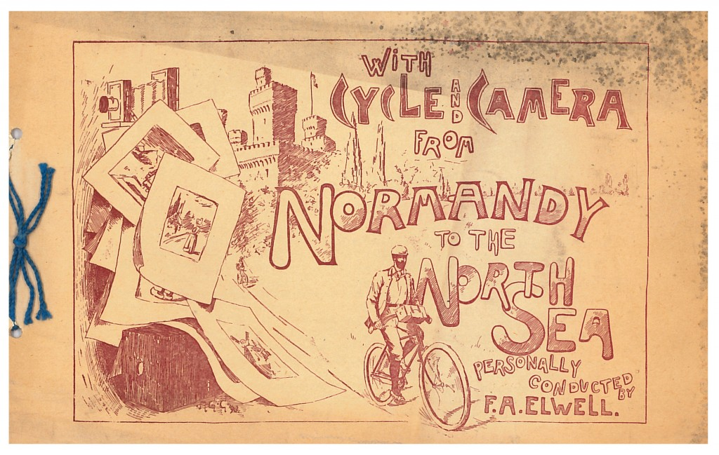 Front cover of a F. A Elwell 1894 trade catalog showing a man bicycling next to a castle, cameras, and photographs.