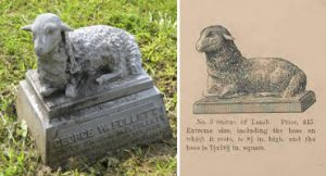 L: Follett Monument, 1857. Lone Fir Cemetery. Portland, OR.  R: Lamb statue, p.14 (Lambs usually mark the graves of children, and infants, symbolizing innocence .)