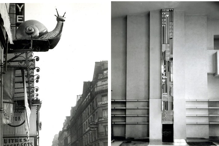 "L: Paris, France, 1925-30.  ""L'Escargot d'Or.""  Golden Snail insignia, advertising that the establishment or shop offers escargot. (snails). R: France, 1927.  Joël and Jan Martel house, 10, rue Mallet-Stevens, Neuilly (today Paris).  Mirror sculpture and fireplace by Joël and Jan Martel (both 1896-1966), sculptors."