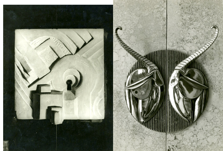 L: France, (n.d) lock.  White stone lock displayed on rosewood by Michel Dufet, (1888-1985), designer, at the Salon d'Automne.R; France, ca. 1925.  Rose Valois dressmaker's shop, 18, rue Royale, Paris.  Plated-metal door pulls in shape of elephant heads.  Billard and Callet, interior decorators.