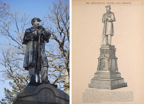 L: Civil War Monument,1898. Woodlawn Cemetery. Bronx, New York.  R: Soldier monument, Catalogue p.85