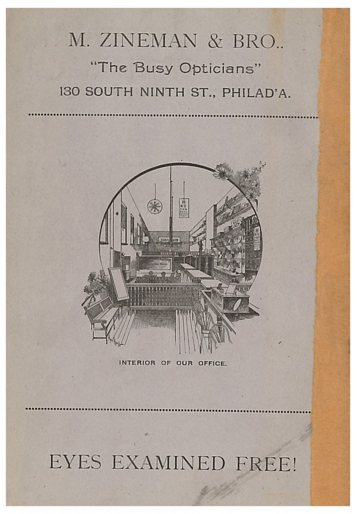 Interior view of the office of M. Zineman & Bro. shown in circa 1890 trade catalog
