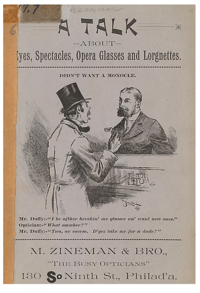 Front cover of M. Zineman & Bro. circa 1890 trade catalog showing a man ordering eyeglasses