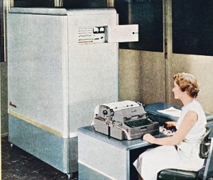 Computers ready for test and inspection at Computer Research factory Annual Report, The National Cash Register Company, 1953