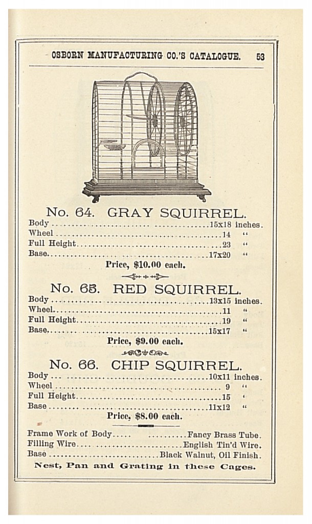 Cages for a single gray squirrel, red squirrel, or chip squirrel in 1885 Osborn Mfg. Co. trade catalog