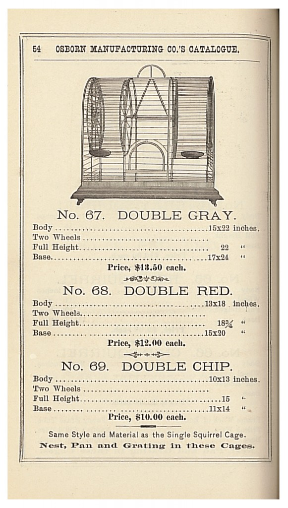 Double cages for two gray squirrels, two red squirrels, or two chip squirrels in 1885 Osborn Mfg. Co. trade catalog