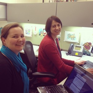 Social media coordinator Erin Rushing (left) and book conservator Katie Wagner (right) preparing to answer questions.