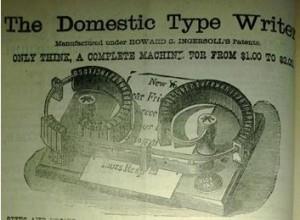 1886 typewriter ad.