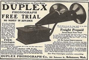 1908 advertisement for Duplex phonograph.