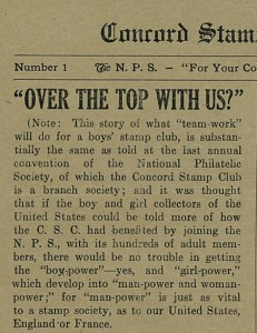 Concord Stamp Club Bulletin of December 1917, invoking WWI patriotism.