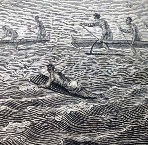 Lone surfer in the illustration of