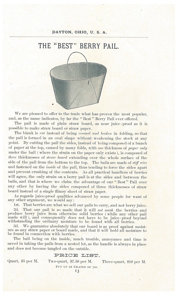 """Best"" Berry Pail shown in 1888-1889 Catalogue and Price List of the Dayton Paper Novelty Co."