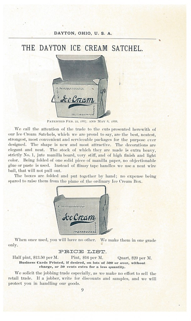Dayton Ice Cream Satchels shown in 1888-1889 Catalogue and Price List of the Dayton Paper Novelty Co.