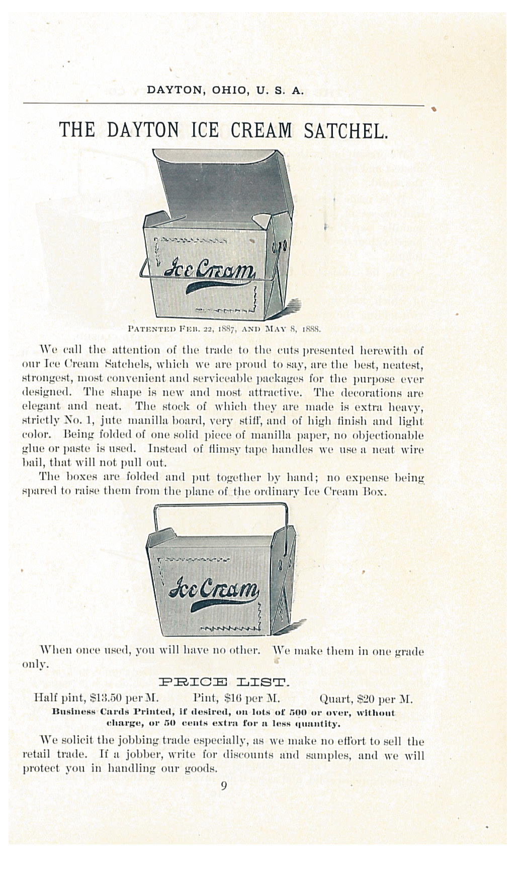 Hand folded ice cream boxes smithsonian libraries unbound dayton ice cream satchels shown in 1888 1889 catalogue and price list of the dayton reheart Gallery