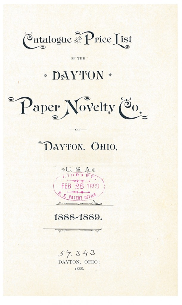 title page of 1888-1889 Catalogue and Price List of the Dayton Paper Novelty Co.
