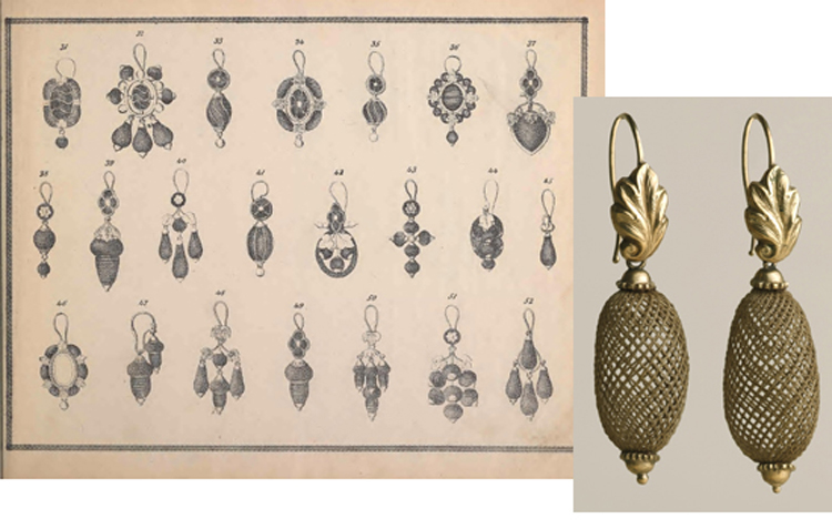 (L:) Charles T. Menge's price list of ornamental hair jewelry and device work, nos. 32 and 34 John Street, New York. Charles T. Menge, [ca . 1873] q NK6076 .C43 1873 Smithsonian Libraries. (R:) Pair of earrings, Probably United States, c. 1860 -70. Hair, gold. Cooper-Hewitt, National Design Museum, Smithsonian Institution.Gift of Mrs. Gustav E. Kissel, 1928-5-58-a,b