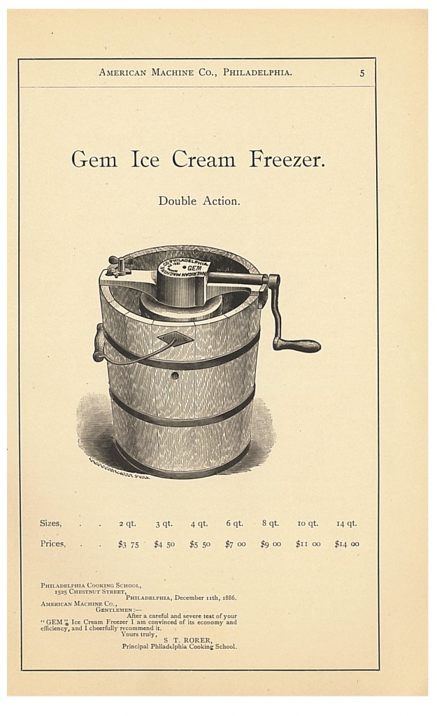 Gem Ice Cream Freezer from 1889 Catalogue and Price-List of Hardware Specialties by American Machine Co.