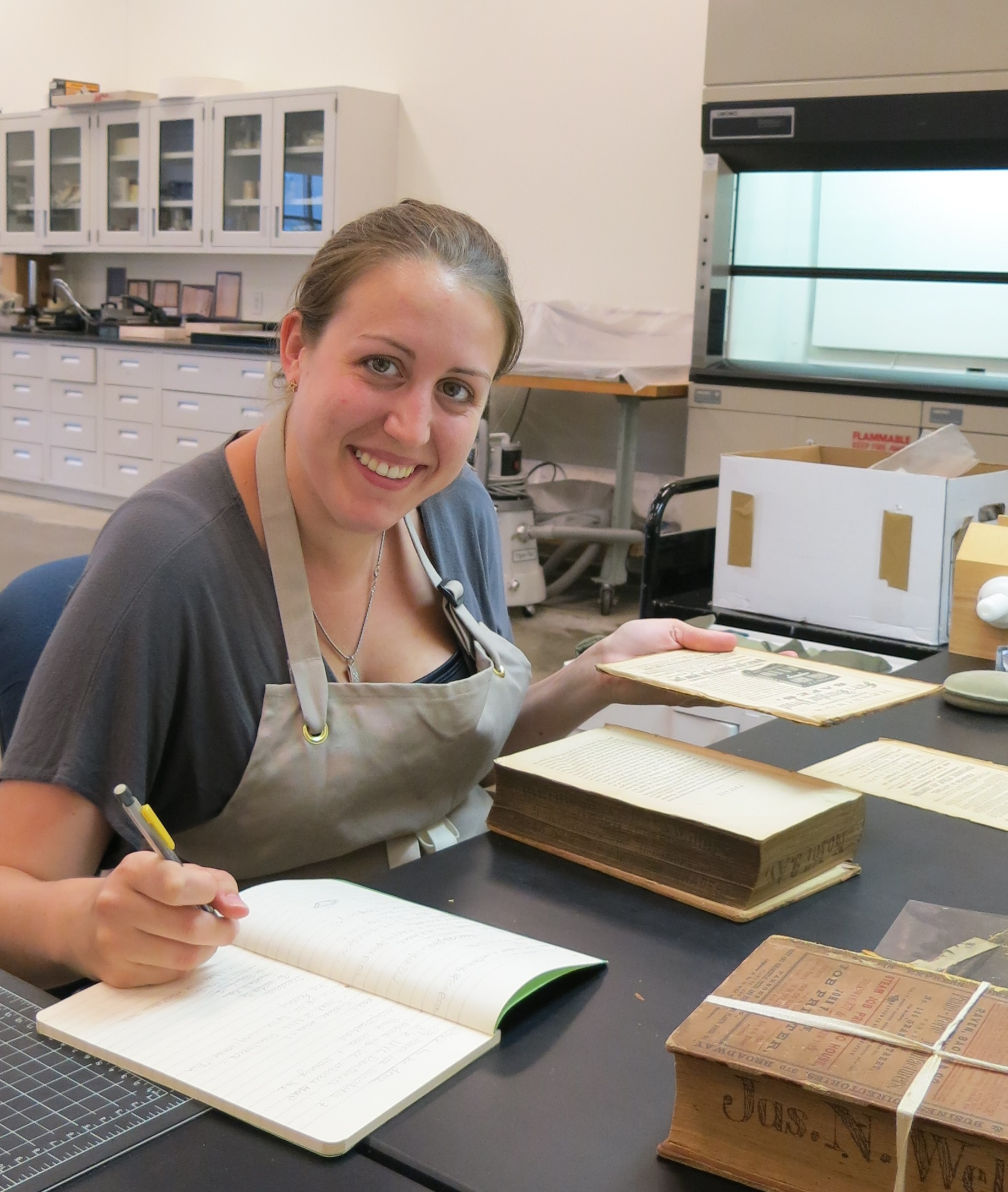 2015 Professional Development intern Katie Boodle at work in the Book Conservation Lab.