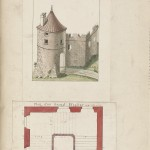 Hand-colored illustration of fortified entrance from Traitté des sieges