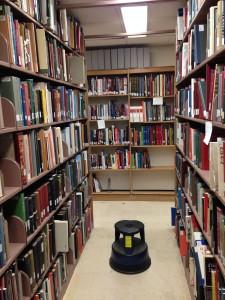 Shelves in the NMAH library.