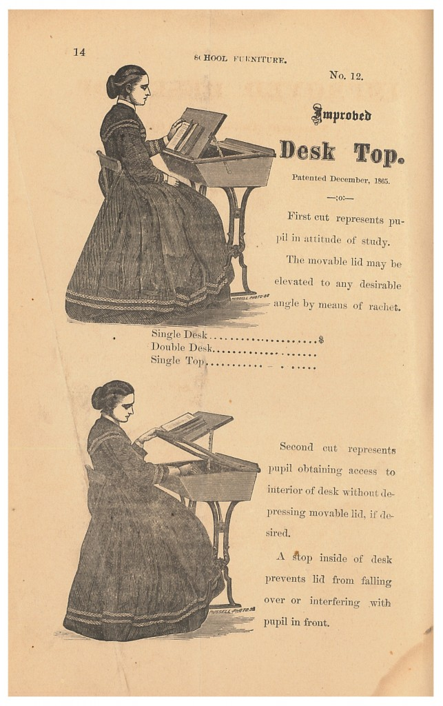 Robert Paton 1872 trade catalog showing student sitting at a desk with an elevated Improved Desk Top and student lifting lid of desk equipped with Improved Desk Top