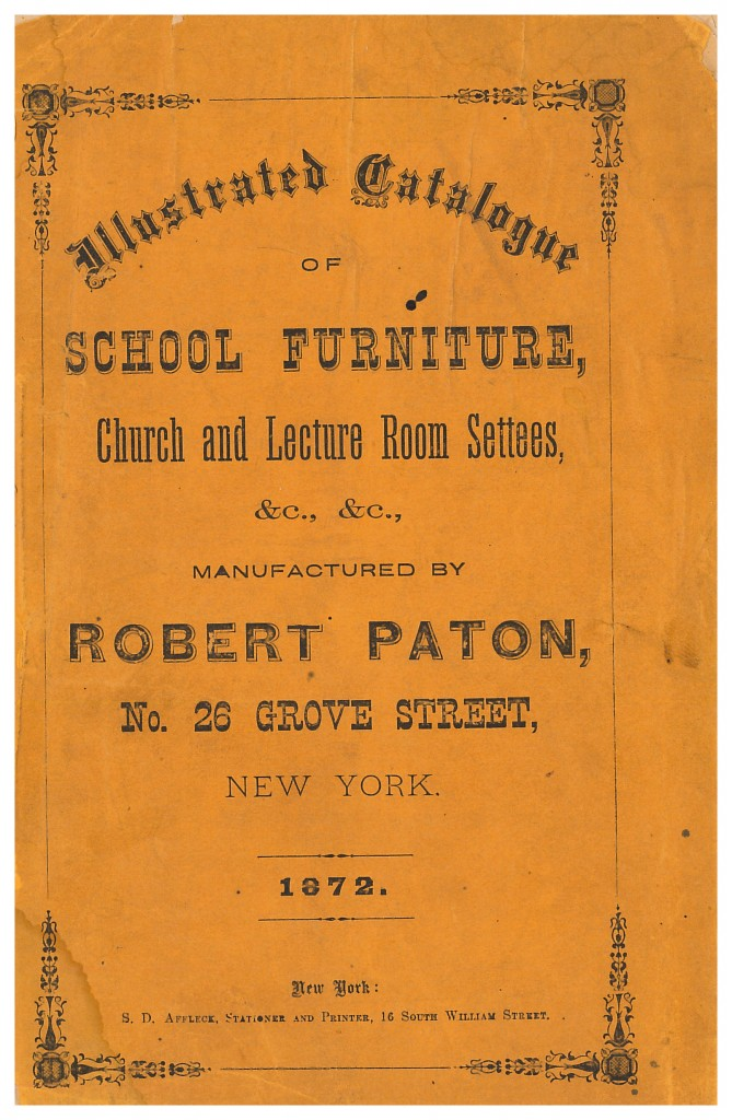 front cover of Robert Paton 1872 trade catalog of school furniture, church and lecture room settees